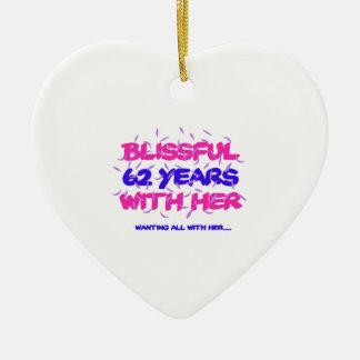 Cool und 62. Heiratjahrestagsentwurf neigend Keramik Herz-Ornament