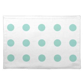 Coole Aqua Polka-Punkte auf Weiß Tischset
