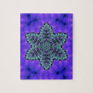 Coole aquamarine grüne Stern-Lotos-Aura Puzzle