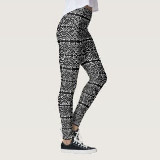Coole aztekische Art-schwarzes u. weißes Leggings