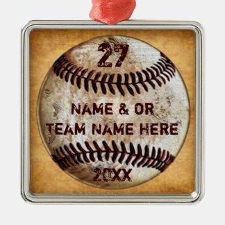 Coole Baseball-Verzierungen für Quadratisches Silberfarbenes Ornament