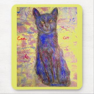 coole blaue Katze Mauspads