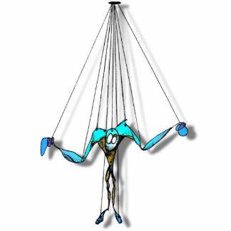 Coole blaue Marionette auf Schnur-Comic-Charakter Freistehende Fotoskulptur