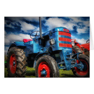 Coole blaues Rot-Antiken-Traktor-Geschenke für Karte