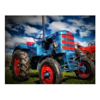Coole blaues Rot-Antiken-Traktor-Geschenke für Postkarte