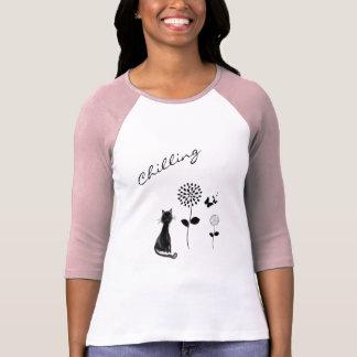 Coole Blumen-und Katzen-Grafik T-Shirt