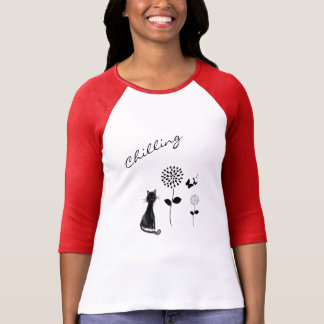 Coole Blumen-und Katzen-grafische Damen-Spitze T-Shirt