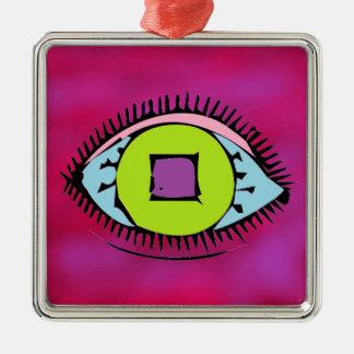 Coole bunte abstrakte Augen-Entwurfs-Fuchsie Quadratisches Silberfarbenes Ornament
