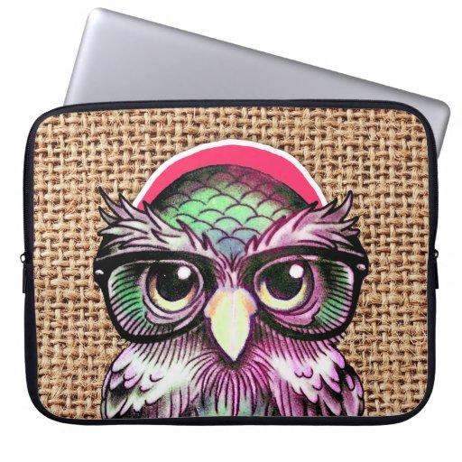 Coole bunte Tätowierungs-kluge Eule mit lustigen G Laptop Sleeve Schutzhüllen