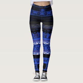 Coole einzigartige blaue Designer-Gamaschen Leggings