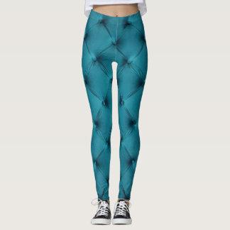 Coole Gamaschen mit aquamarinem blauem capitone Leggings