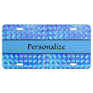Coole glänzende blaue Glasknöpfe US Nummernschild