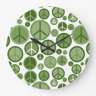 Coole Groovy weises Grün-Friedenssymbole Große Wanduhr