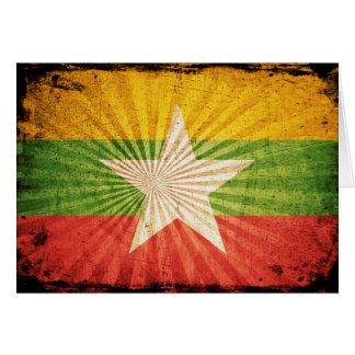 Coole Grunge-Birma-Flagge Karte