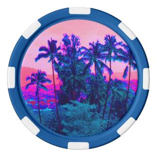 Coole hawaiische Neonpalmen Poker Chips Set