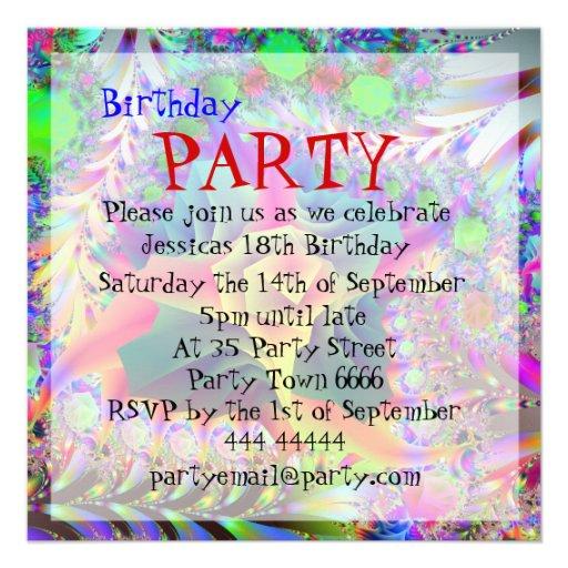 Coole helle Geburtstags-Party Einladungen Quadratische 13,3 Cm ...