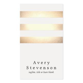 Coole Imitat-Goldfolie und weißes gestreiftes Visitenkarten Vorlagen