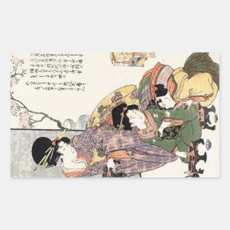 Coole japanische Vintage ukiyo-e Dame und Kinder Rechteckiger Aufkleber