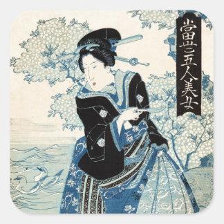 Coole japanische Vintage ukiyo-e Geisha-Damenfrau Quadratischer Aufkleber