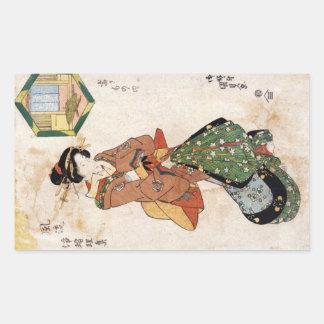 Coole japanische Vintage ukiyo-e Geisha-Damenrolle Rechteckiger Aufkleber