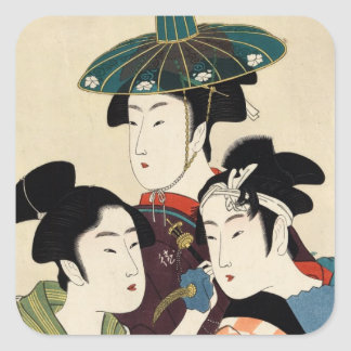 Coole japanische Vintage ukiyo-e Triodame Quadratischer Aufkleber