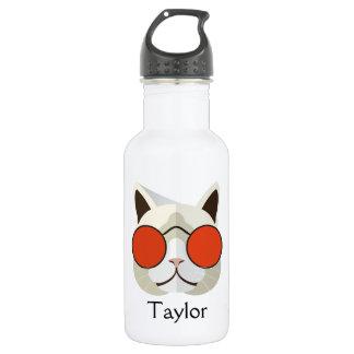 Coole Katze in den Sonnenbrillen mit Monogramm Edelstahlflasche