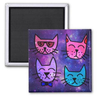 Coole Katzen-Gesichter auf einem Raum-Hintergrund Quadratischer Magnet