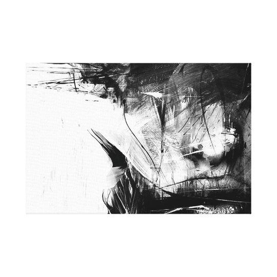 Coole Kunst Abstrakte Schwarz Weiße Gesichts Frau Leinwanddruck