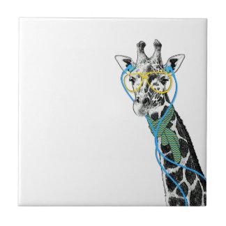 Coole lustige trendy Giraffe mit Gläsern, Fliese
