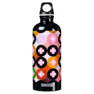 Coole mehrfarbige Kreise u. rosa Klee Wasserflasche