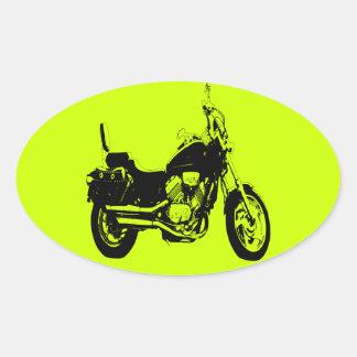 Coole Motorradfahrrad-Silhouette Ovale Aufkleber