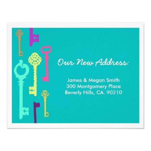 Coole neue Adressen-Mitteilung der Schlüssel-| Personalisierte Einladungskarte