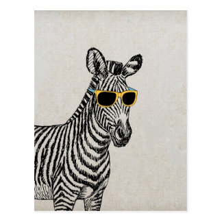 Coole niedliche lustige Zebraskizze mit trendy Postkarten