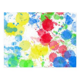 Coole niedliche trendy bunte Spritzer-Wasserfarben Postkarte