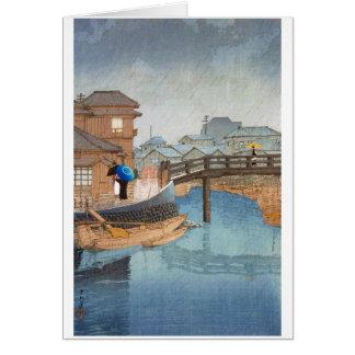 Coole orientalische Hasui Kawase regnerischer Karte