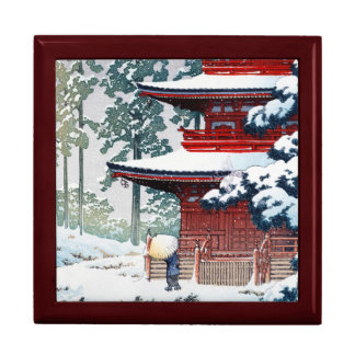 Coole orientalische Hasui Kawase Winter-Landschaft Große Quadratische Schatulle