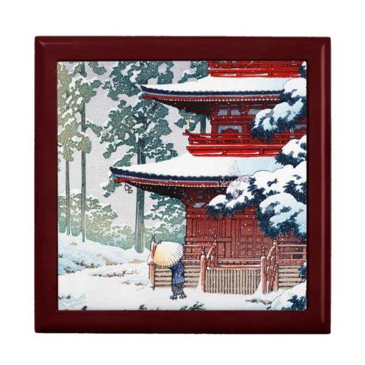 Coole orientalische Hasui Kawase Winter-Landschaft Modeschmuckschachtel
