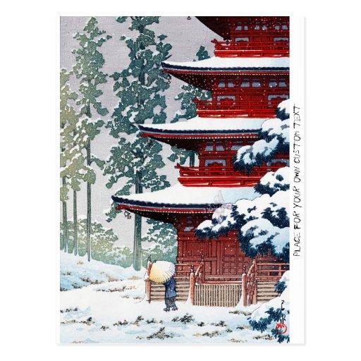 Coole orientalische Hasui Kawase Winter-Landschaft Postkarte
