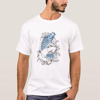 Coole orientalische japanische blaue Koi T-Shirt