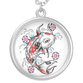 Coole orientalische japanische weiße Koi Fisch-Kar Amuletten