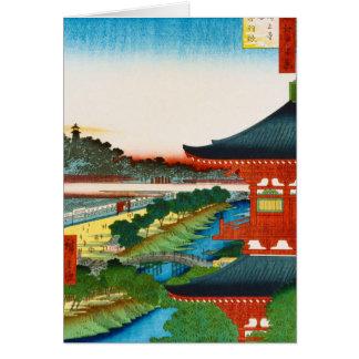 Coole orientalische japanische woodprint karte