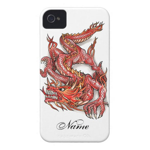 Coole orientalische rote Drache-Tätowierung Case-Mate iPhone 4 Hülle
