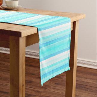 Coole Ozean-Blau-Aqua-Türkiswatercolor-Streifen Mittelgroßer Tischläufer