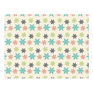 Coole Retro Weihnachtsfeiertags-Pastell-Schneefloc Postkarten