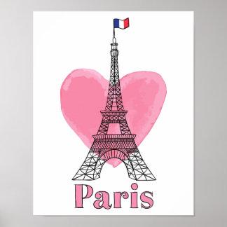Coole rosa Paris-Liebe-modernes Eiffel-Turm-Plakat Poster