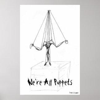 Coole Schwarzweiss-Marionette auf Schnur-Comic Poster
