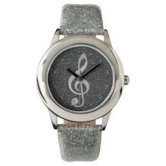 Coole silberne glänzende Effekte des Glitters Uhr