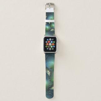 Coole Spirale-beige grünes Türkis-Fraktal Apple Watch Armband