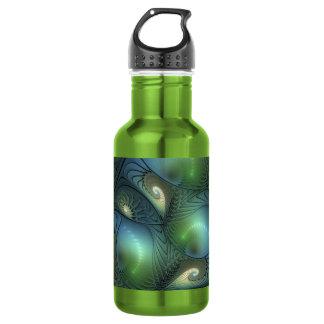 Coole Spirale-beige grünes Türkis-Fraktal Edelstahlflasche