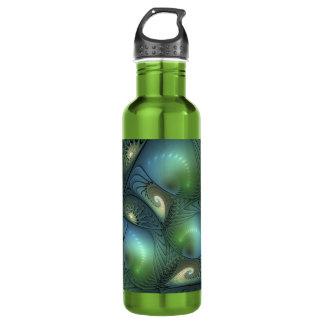 Coole Spirale-beige grünes Türkis-Fraktal Trinkflasche